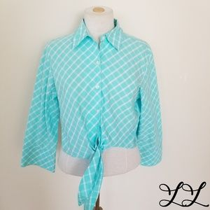 Talbots Shirt Blouse Blue White Check Crop Tie